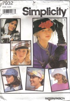 Vintage Simplicity's Factory Folded Set of Hats & Gloves  Pattern 7932 One Size circa 1992 by EvaStAlbans on Etsy