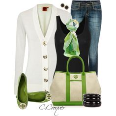"""with black slacks instead of jean """"Pop of Green"""" by ccroquer on Polyvore"""