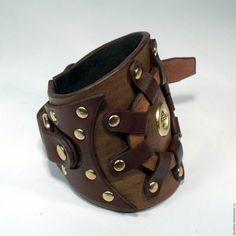 Купить Кожаный браслет/наруч №6 - кожа натуральная, кожа, аксессуары, Аксессуары handmade, браслет