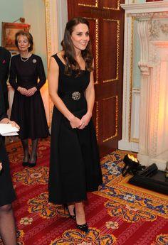 Kate Middleton in a black Preen dress