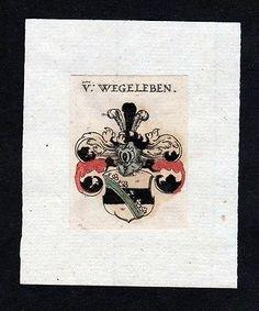 17. Jh. von Wegeleben Wappen coat of arms heralrdy Heraldik Kupferstich