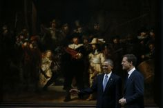 President Obama visits the Rijksmuseum in Amsterdam. Picture taken in front of the Nachtwacht by Rembrandt - nrc.nl