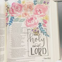 Beautiful watercolor flowers in a journaling Bible by @patjournals