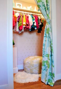 Would like to do curtains in place of closet doors in both kids' rooms. Only  doors in the house that haven't been replaced with 6 panel doors and I like this look better anyway.