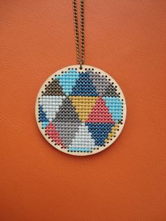 Triangles. Wooden cross stitch pendant. Geometric by cupcakecutie1, $35.00