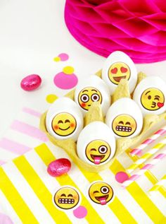 Emoji inspired party printables for Easter Eggs! How cool from BirdsParty.com!!