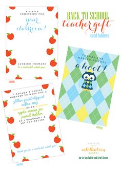3 Free Back To School Gift Card Holders | @kimbyers, TheCelebrationShoppe.com for @JoAnn_Stores  #teacherappreciation