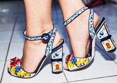 My Dolce & Gabbana tile shoes that match my skirt and top.