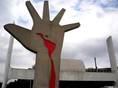 Hand Sculpture by Oscar Niemeyer - photo by paulisson_m, via Flickr;  at the Memorial of Latin America in Sao Paulo, Brazil  (1989)