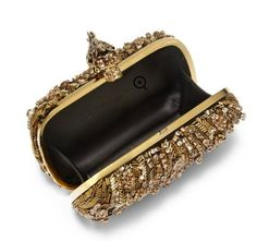 Alexander McQueen    Glory Ice Embellished Leather & Mesh Box Clutch   from globaltextiles.com