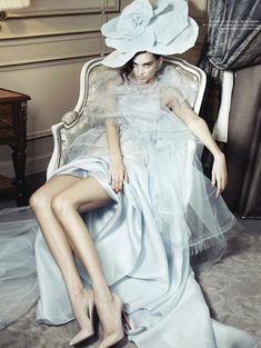 Dovile Virsilaite by Gilbert Francois for L'Officiel Ukraine, April 2012 | Couture gown by Alexis Mabille
