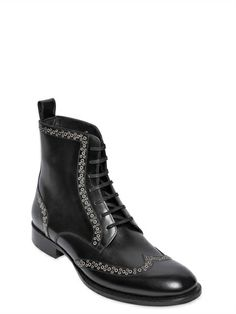 DSQUARED - LEATHER METAL BROGUE WINGTIP ANKLE BOOTS