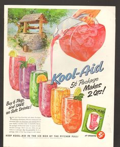 1952 Print Advertisement Ad Kool Aid 5 cent Package in the ice box by the pitcher full Old Advertisements, Retro Advertising, Retro Ads, Vintage Ads, Retro Food, Vintage Food, Kool Aid Man, Vintage Recipes, Mixed Drinks
