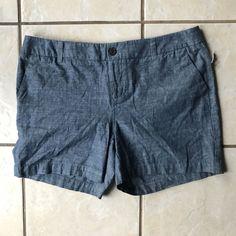 """Merona NWT Chino Shorts Gray Blue Chambray Cotton Denim Shorts Size 6 5"""" Inseam #Merona #Chino #CasualCareer"""