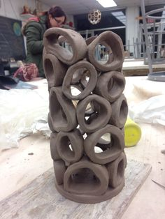 Carrie Breitz 1.27.16 ceramics class. I call this one a calamari vase. Hand built ceramic project