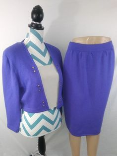 5d41991370 JOHN COLLECTION Purple Wool Blend Two Piece Knit Skirt Suit Size 10   StJohnCollection