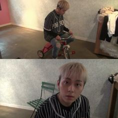 Junhyung on tricycle