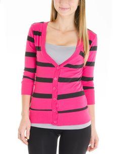 Juniors T-Shirt Fabric Cardigan 3/4 Sleeve 6 Button Many Colors (Small, Striped:Soft Magenta/Black) Cotton Cantina,http://www.amazon.com/dp/B00DZUROSS/ref=cm_sw_r_pi_dp_U68qsb1CQMXMRQZZ