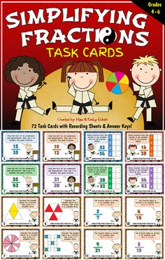 This simplifying fractions pack contains a total of seventy-two (72) task cards divided into three (3) sets. $