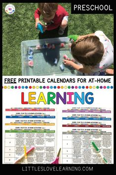 FREE at-home activities for preschool and pre-k students. These super fun learning activities include literacy, math, fine motor, and gross motor practice. These activities are LOW prep, hands-on, and engaging. Keep your little ones learning through play while they're home with you! Blog post includes a FREE printable calendar of the activities. Print it out and hang on your refrigerator to keep your little ones learning and playing all year long! Click thru to read more! #preschool #prek Preschool Calendar, Preschool Phonics, Free Preschool, Pre K Activities, Hands On Activities, Learning Activities, Home Learning, Learning Through Play, Fun Learning