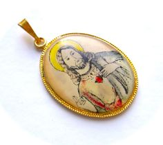 Antique Vintage Pendant Medal Christian Medallion Jesus Christ Icon Sacred Heart