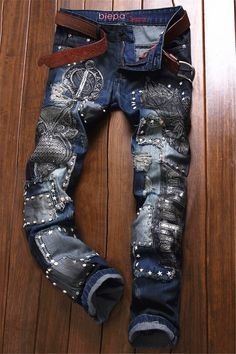 $46.26 Owl Embroidered Rivet Embellished Ripped Jeans
