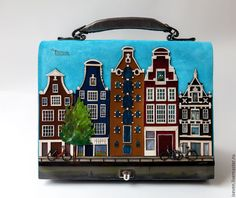 """Купить Кожаная сумка """"Амстердам"""" - голубой, рисунок, домики, амстердам, кожа, замша, дизайнерская сумка"""