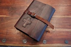 Folklander, Leather Heritage Bible Cover Book Wrap on Etsy, $150.00