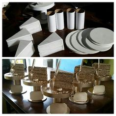 """Trophies I created for the """"Edible Arrangements"""" Contest at My Halloween Bash! Foamboard, soft foam for the cake-like texture, Hot glue... plastic fork... and Metallic Gold Spray Paint to finish it off!"""