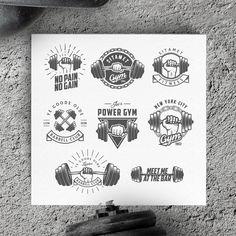 Vintage gym logos & design elements by 1baranov on Creative Market