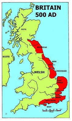 By the century, partly through the influence of King Alfred, the West-Saxon dialect became prevalent in literature which aided the dialect's dominance among scholars. Wales and the Welsh did not exist in that time, they were Bretons. History Of England, Uk History, British History, Tudor History, History Channel, History Facts, Anglo Saxon History, Ancient History, Map Of Great Britain