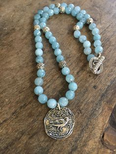 Knotted Necklace Silver Bird Pendant Blue Jade by TwoSilverSisters
