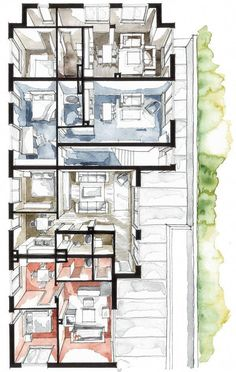 Architecture Drawings, Architecture Plan, Interior Architecture, Planer Layout, Interior Design Sketches, Plan Drawing, Designs To Draw, House Plans, Floor Plans