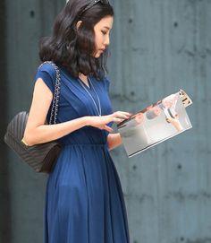 Women's Elegant 2-Piece Set V-Neck Sleeveless Work Dress Blue