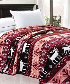 Pink Christmas Reindeer Snowflake Flannel Fleece Blankets #HST #HomeSoftThings #Christmas #Winter #SnowFlake #Blanket