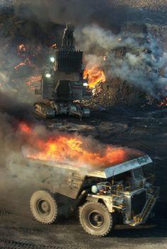 Flaming dump-truck.