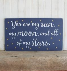 Sun Moon and all my Stars Wood Sign for Nursery by CountryWorkshop