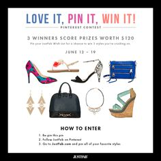 Win $120 to JustFab! Simply re-pin & pin your JustFab Wish List from justfab.com for a chance to be 1 of 3 winners. Get lucky now: https://www.facebook.com/justfab/app_471000209660656?ref=ts