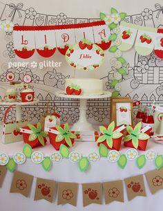 Fresa Kit imprimible de fiesta con invitaciones y por paperglitter