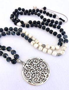 Black white mala necklace agate black mala black white howlite mala necklace pendant mala filigree necklace meditation necklace yoga mala by Katiaicrafts on Etsy