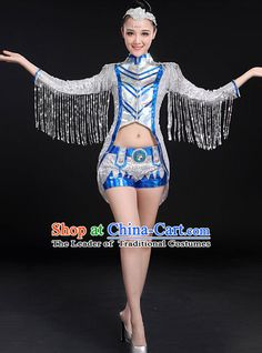 Traditional Chinese Modern Dancing Compere Costume, Women Opening Classic Jazz Dance Mandarin Collar Uniforms, Modern Dance Jazziness Dance Paillette Tassel Dress for Women
