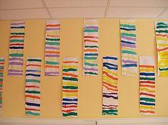 Lignes horizontales sur bandes verticales - Des Arts Visuels à l'école maternelle