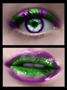 Poison Ivy Costume Makeup- this would be cool with red instead of the purple