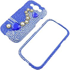 #Rhinestones Protector Case for #Samsung Galaxy S III, Hearts & Pearls (Blue) Full Diamond $14.99 From #DayDeal