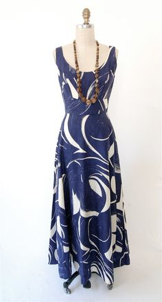 Vintage 60's graphic painterly maxi dress empire by hausofmirth | blue and white love!
