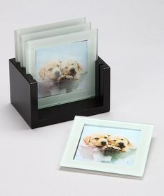 Take a look at this Pretty as a Picture Puppy Coaster Set by Rachael Hale on #zulily today!