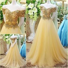 Prom Gowns Off the shoulder Gold Long Prom Dress,Tulle Evening Dress,Ball Gown Prom Dresses For Teens