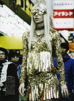 Eyewear by NATASHA MORGAN. Arowanna Gold  VOGUE Japan   Photographed by Giampaolo Sgura  Styled by Anna Dello Russo  NATASHA MORGAN...FRAMED