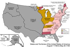 Map of the states and territories of the United States as it was from August 1789 to 1790. On August 7 1789, the Northwest Territory was organized. On May 26 1790, the Territory South of the Ohio River (Southwest Territory) was organized.