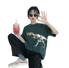 3a7df321b2e6 2018 Summer Harajuku Women s t Shirt Brand New Fashion dinosaur Print Casual  Short Sleeve O-Neck Loose t-shirts Tops Plus Size